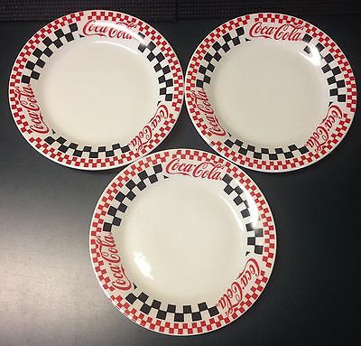 "3 Coca Cola Salad Plates 7-3/4"" 1996 Gibson Checker Pattern Red, Black & White"
