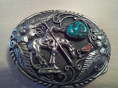 Vintage SSI Handcrafted USA Belt Buckle Western End of Trail ~ Turquoise & Coral