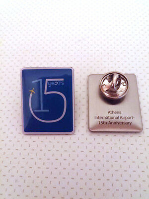 2 Pins Athens Int'l Airport 15 years anniversary (Set of white & blue)