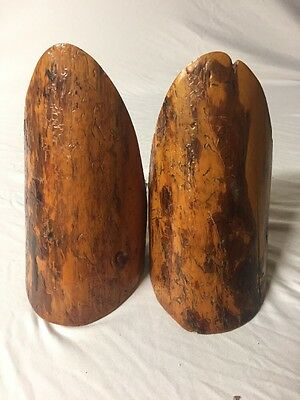 50's 60's Wood Log Bookend Old bookends Cabin Bookend