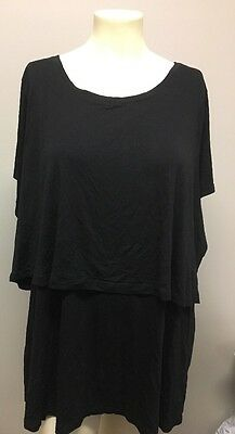 Old Navy Maternity Shirt Plus Size Xxl Solid Black Breast Feeding Excellent