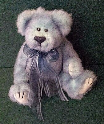 Vintage 1993 TY Azure Blue Bear Attic Treasures Jointed With Bow