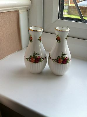 A Pair Of Royal Albert Old Country Roses Bud Vases