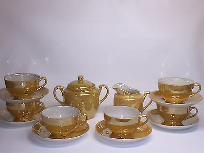 Vintage 1950's Lustre ware Cups & Saucers (6 Sets) And Sugar And Cream