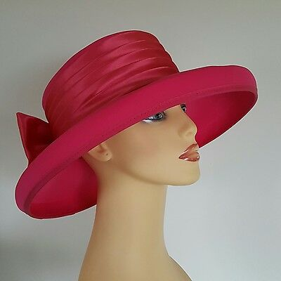 Ladies Wedding Hat Races Mother Bride Ascot Pink Satin Band & Bow