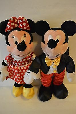 Disney Mickey & Minnie Mouse Stuffed Plush Tuxedo Red White Dress EUC