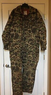 Vintage Mens Trophy Club BDU Camo Insulated Hunting Coveralls Size L