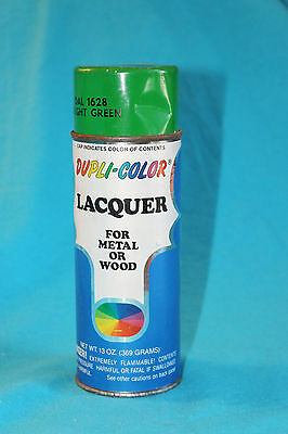 VINTAGE DUPLI-COLOR LACQUER PAINT CAN - 13oz - USED - BRIGHT GREEN - 1/4 FULL
