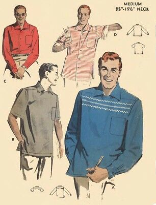 """Vintage 1950's Sewing Pattern Men's Sports Yoked Shirt Rockabilly Chest 38 - 40"""""""