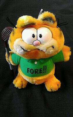 Vintage Dakin Garfield Plush 1981 Golf Fore Stuffed Animal Plush Golfer