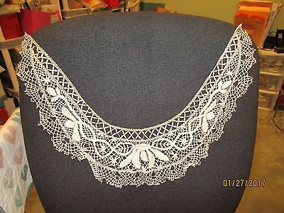 "Antique Vintage Petite Bobbin Lace Trim Collar Cream 14"" X 15 1/2"""