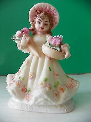 Antique unique Porcelain girl figurine with ring holder stand