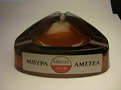Greece AMSTEL Beer vintage rare advertising glass ashtray