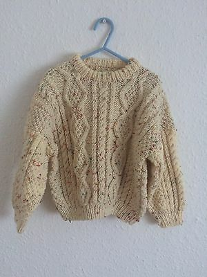 Vintage Kids Cream Flecked Cable Chunky Aran Knit Sweater Jumper 3 4 5 Y