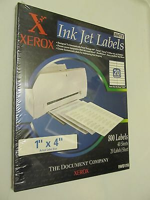 """Xerox Sealed Box Of Ink Jet Labels 1"""" X 4"""" 800 Labels 20 Per Sheet 40 Sheets"""