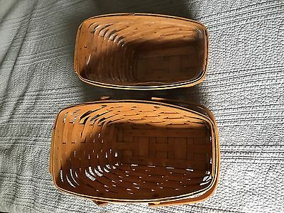 Two Vintage Longaberger Angled Slanted Wine  and bread Baskets - signed