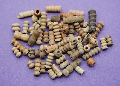 Collection of ancient Egyptian terracotta beads from the Coptic period