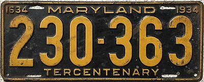 FREE UK POSTAGE 1934 Maryland American USA License Number Plate 230-363