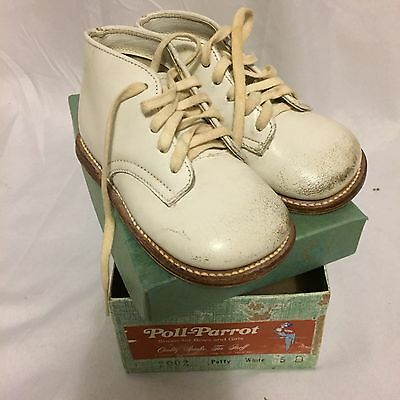 Vintage White Leather Poll-Parrot Baby Shoes In Box 5D