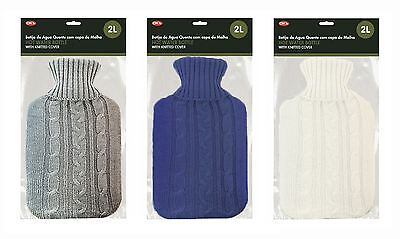 New 2L Hot Water Bottle Winter Cold Night Warm Quality Knitted Cover Large