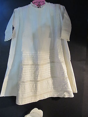 Antique Vtg Hand Made Baby Or Doll Cotton Dress And Slip -  Pintucks And Lace