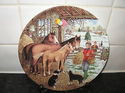 Horse  Plate -    - Christmas Day Treat     -  Bradford Exchange