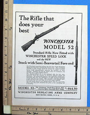 1930 WINCHESTER 22 cal Model 52 bolt rifle w/ New Speed Lock Magazine Ad 8742