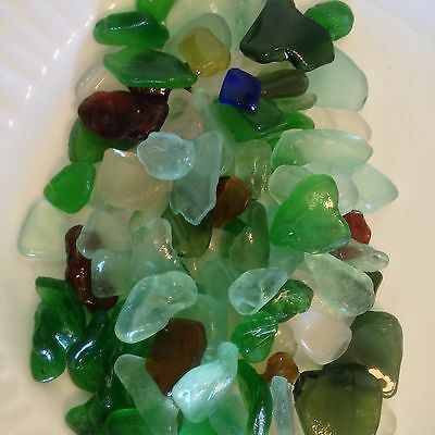 Beach Sea Glass Surf Tumbled Small-Large Mixed Colors Lot Over 100 Pieces