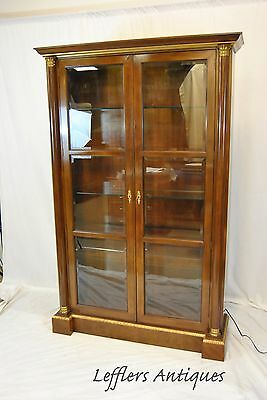 Baker Cherry Two Door Empire Style Bookcase Beveled Glass
