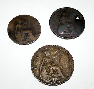 3 copper coin Male mystery lot early 1900's? English? take a chance on a rarity