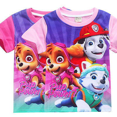 New Kids Girls Casual T shirts Paw Patrol Cartoon T-shirts Tops Clothes 3-7Y