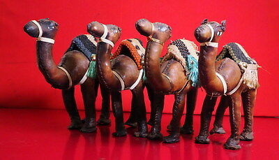 """4 African Hand Made Leather Camels - 6"""" High Approximately"""