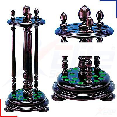 Mahogany Circular 18 Hole Reproduction Snooker Pool Cue Stand Rack Rotating Base