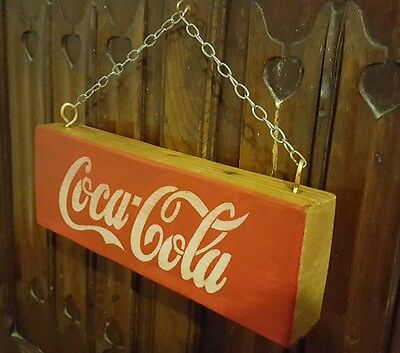 "VINTAGE STYLE WOODEN COCA COLA SIGN WITH HANGING CHAIN 11"" / 28cm WIDE"