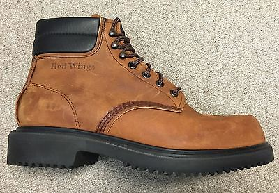 RED WING 6 Inch Plain Toe Brown Leather Lace Up Work Boots Size 8 EE (Wide)
