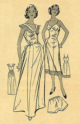 """Vintage 1950's Sewing Pattern Nightdress Slip & Knickers Lingerie Rare Bust 38"""""""
