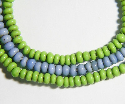 AUTHENTIC Old Lime Green Light Blue Glass Bead Trade NAGALAND Hillstribe Strand