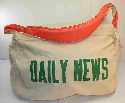 DAILY NEWS Vintage Newspaper Delivery Bag...with Flap..Newsboy
