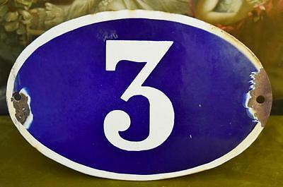 Large Antique French House Number 3 Sign / Plaque, Blue Enamel On Steel - B768