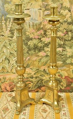 Pair Superb Tall Antique French Gilded Church Altar Candlesticks, 19th C - B819
