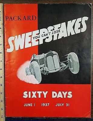 Packard Motor Car Compan Sweepstakes 1937 Dealer Sales Contest