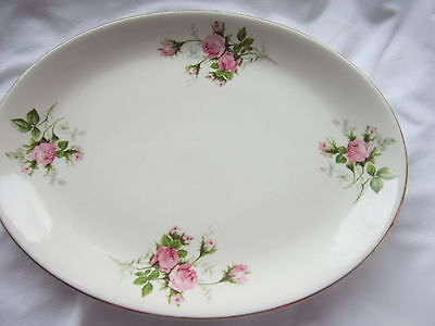 Royal Wilton Large Oval Platter Pink Roses Green & Gray Leaves 22K Gold Trim