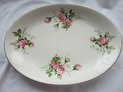 Royal Wilton Medium Oval Platter Pink Roses Green & Gray Leaves 22K Gold Trim