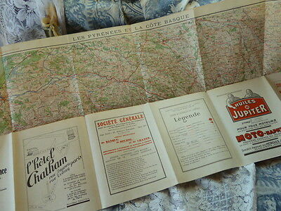Fab 1920's/30's Vintage Tourist Motoring Map of The Pyrenees, Art Deco Graphics