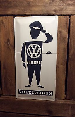 Volkswagen Service Dienst Sign. Extra Large Advertising Embossed Metal sign.