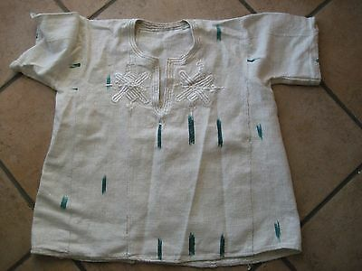 original African Ladies Cream Hessian type material Top with glitter and stich