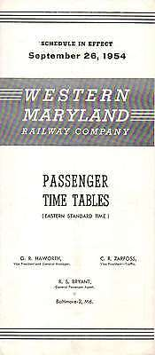 Western Maryland RY WMRY Public Timetable September 26 1954