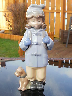 """RETIRED NAO by LLADRO FIGURINE - """" TRAVELLING GIRL """" - #1038  - GIRL WITH DOG"""