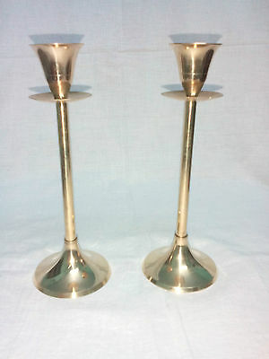 New Brass Metal Table Candle Stick Holder / Stand Pair Gold Color Au02