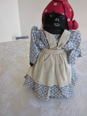 """Antique Black Americana 7"""" Doll Wisk Broom Body Hand Painted Face"""